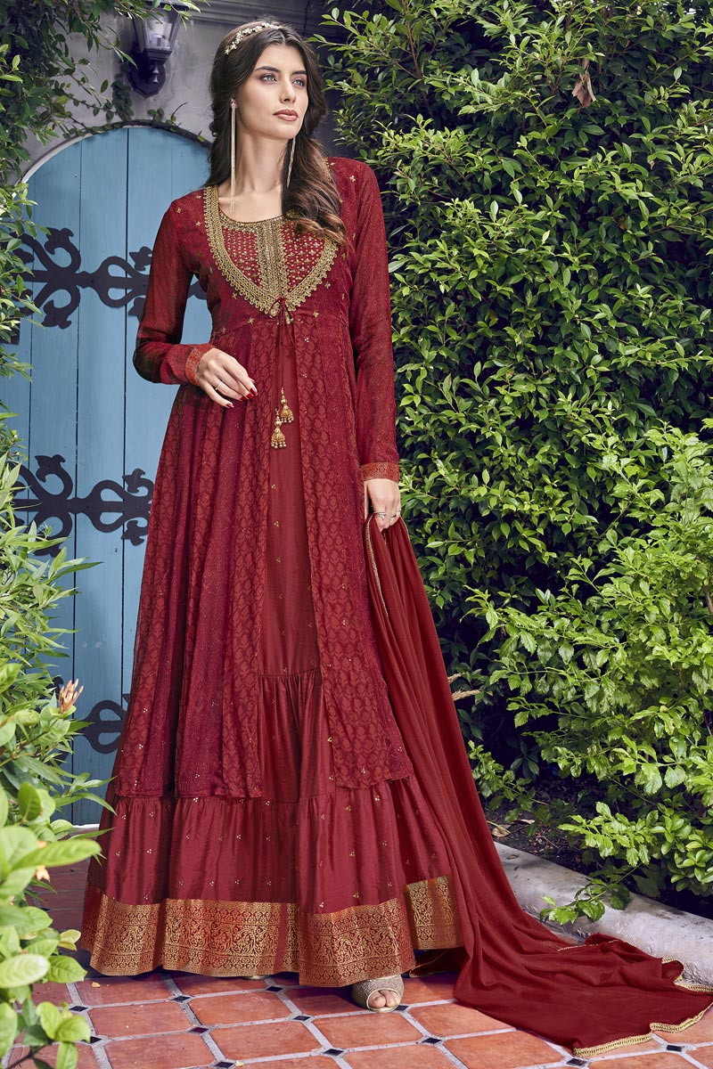 Eid Special Designer Function Wear Chiffon Embroidered Gown In Maroon