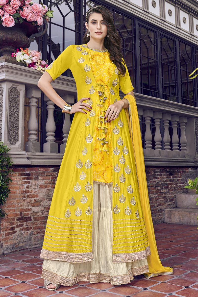 Eid Special Yellow Embroidered Designer Function Wear Sharara Suit In Satin