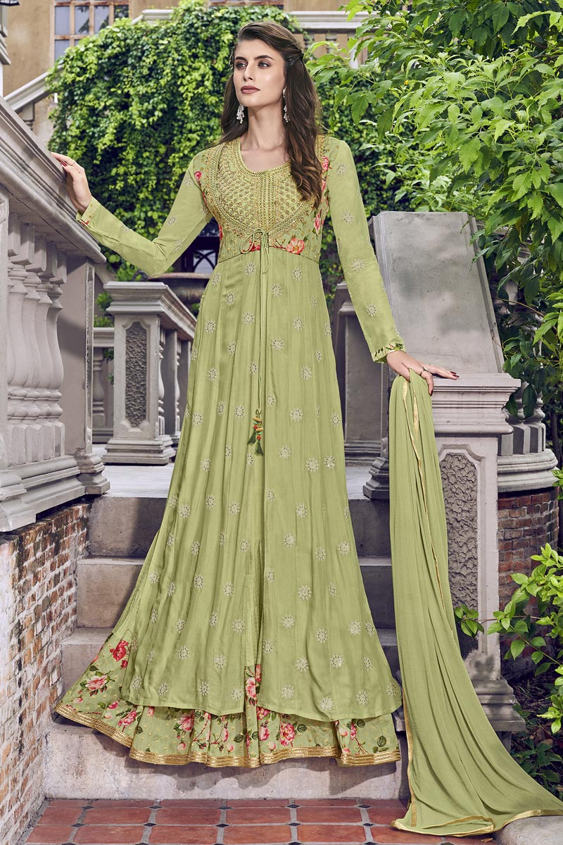 Eid Special Sea Green Designer Function Wear Embroidered Fancy Fabric Gown