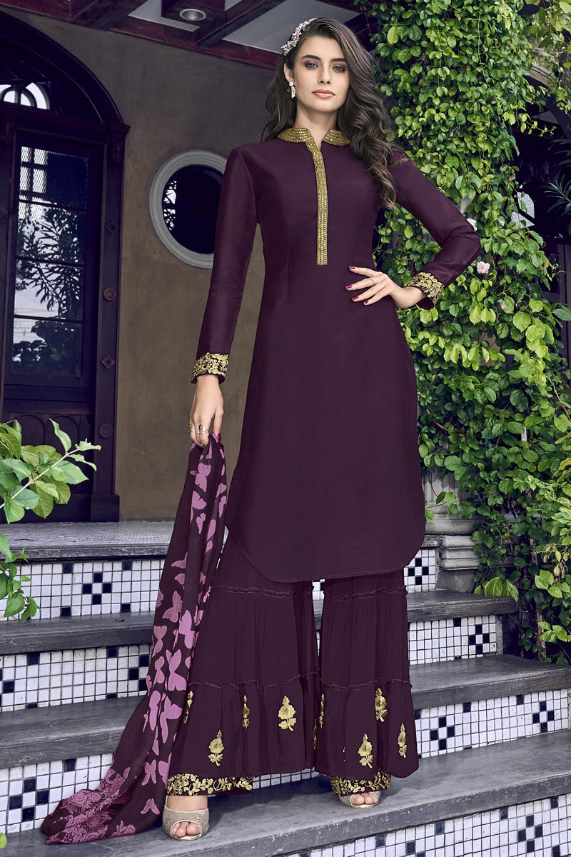 Eid Special Designer Art Silk Embroidered Function Wear Sharara Suit In Wine Color
