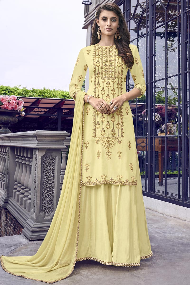 Eid Special Yellow Designer Function Wear Fancy Fabric Embroidered Gown