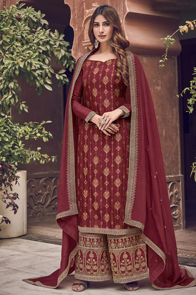 Red Color Function Wear Elegant Embroidered Palazzo Suit In Jacquard Fabric