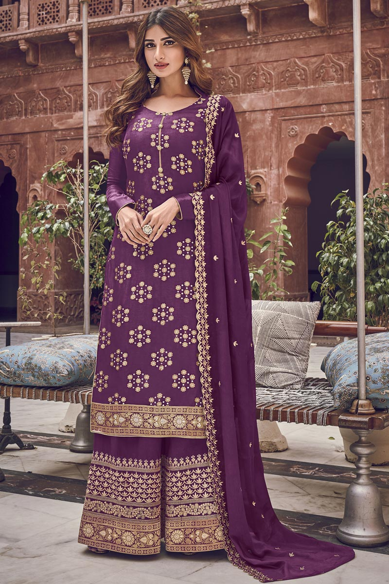Function Wear Jacquard Fabric Elegant Purple Color Embroidered Palazzo Dress