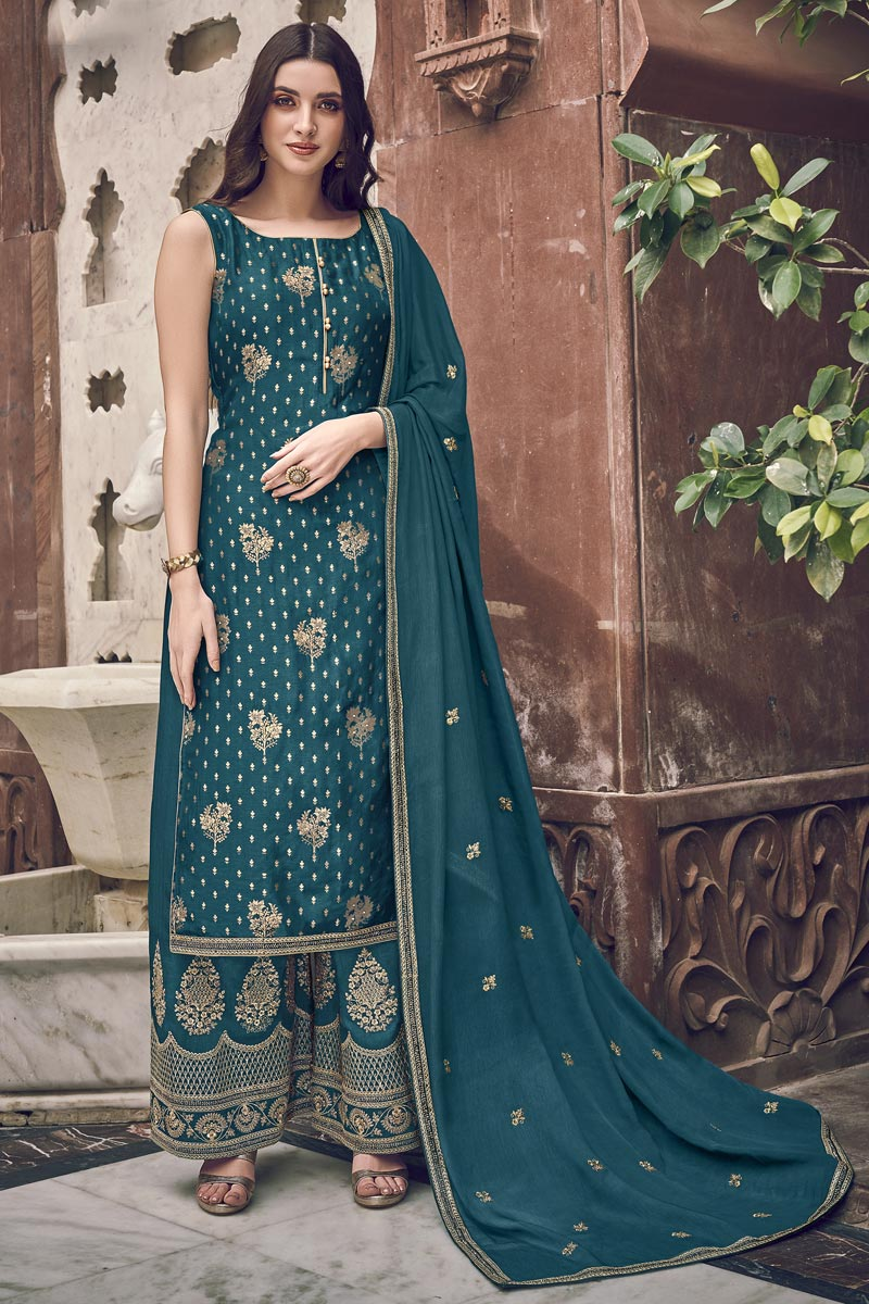 Elegant Teal Color Function Wear Embroidered Palazzo Suit In Jacquard Fabric