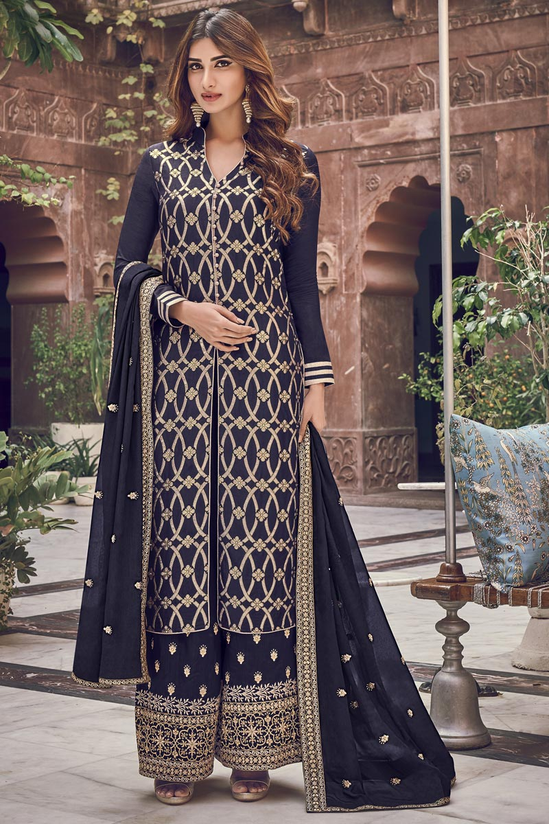 Function Wear Elegant Navy Blue Color Embroidered Palazzo Suit In Jacquard Fabric