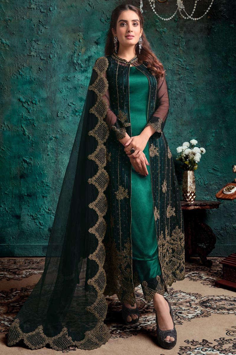 Teal Color Festive Wear Fancy Embroidered Net Fabric Straight Cut Dress
