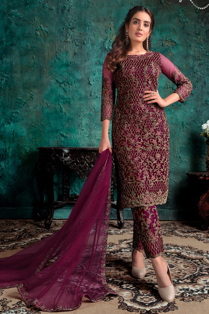 Festive Wear Fancy Wine Color Embroidered Straight Cut Suit In Net Fabric