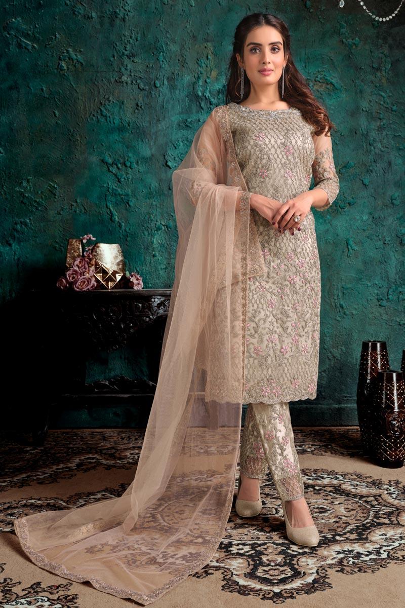 Festive Wear Dark Beige Color Fancy Embroidered Straight Cut Net Fabric Dress