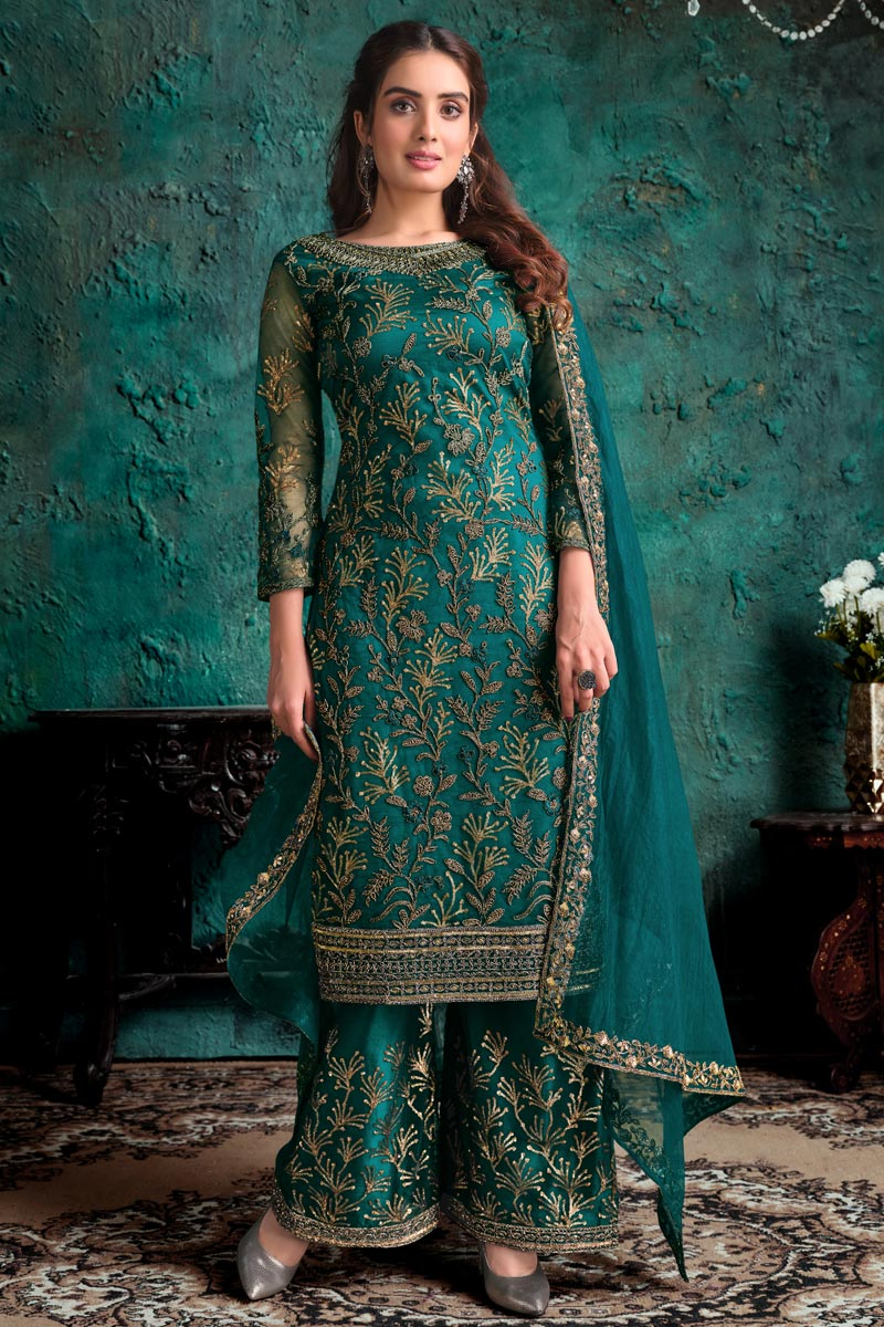Festive Wear Teal Color Fancy Embroidered Palazzo Suit In Net Fabric