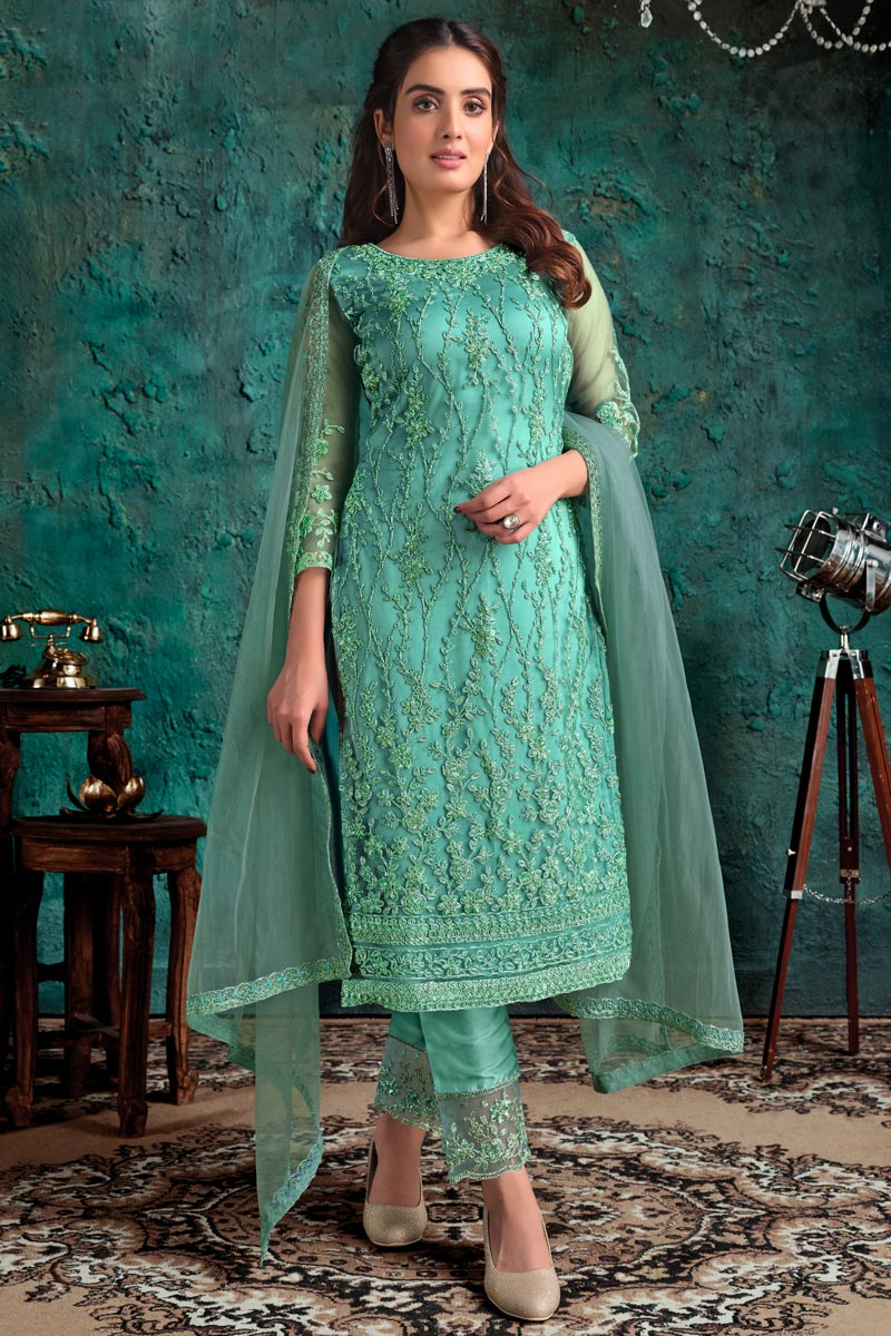 Net Fabric Festive Wear Fancy Embroidered Sea Green Color Straight Cut Dress