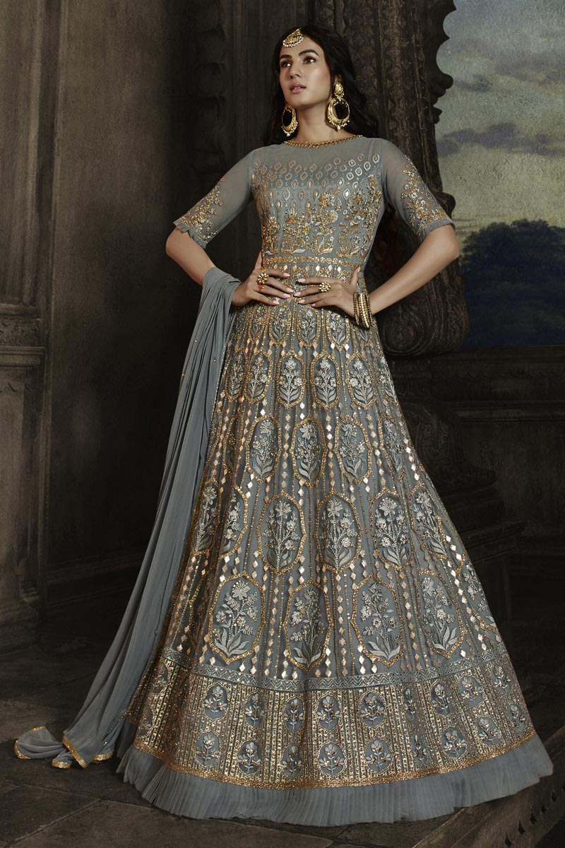Sonal Chauhan Function Wear Grey Color Net Fabric Embroidered Long Length Anarkali Suit