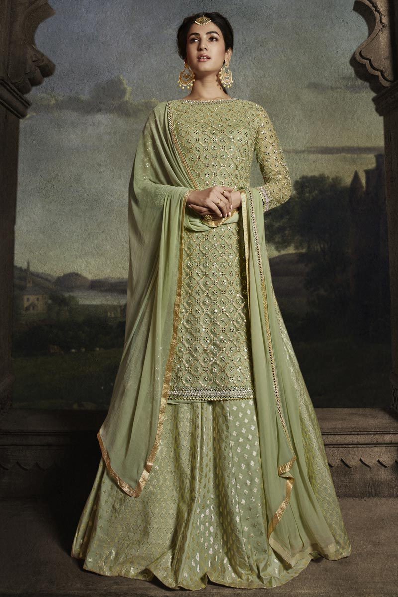 Sonal Chauhan Function Wear Sea Green Color Long Length Net Fabric Embroidered Anarkali Suit
