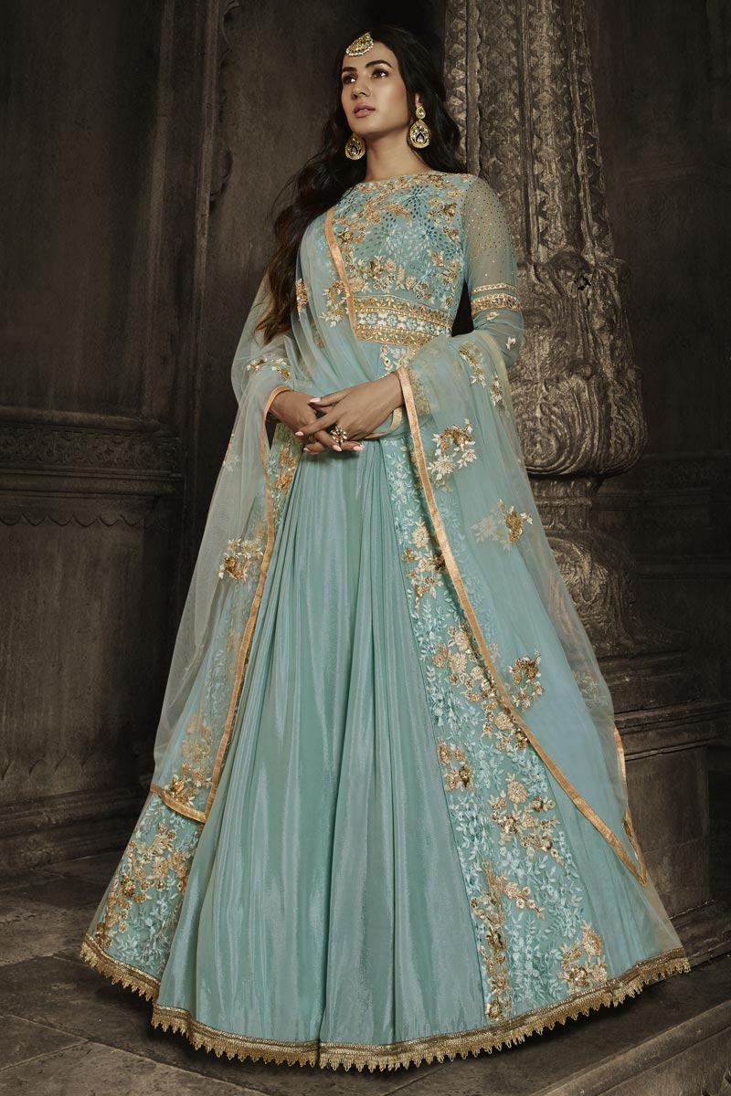 Sonal Chauhan Function Wear Embroidered Cyan Color Floor Length Anarkali Dress In Net Fabric