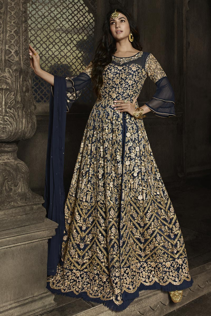 Sonal Chauhan Net Fabric Function Wear Navy Blue Color Long Length Embroidered Anarkali Suit
