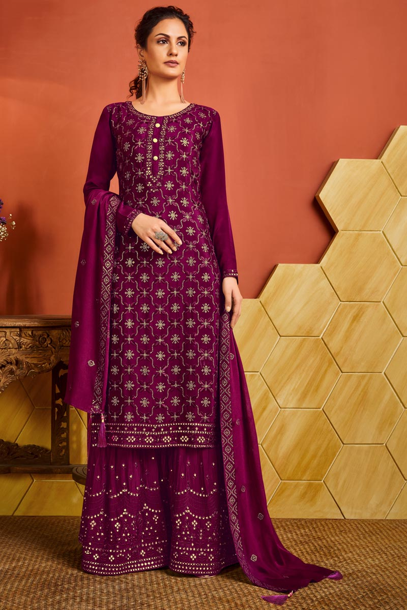 Chinon Fabric Party Wear Magenta Color Embroidered Palazzo Suit