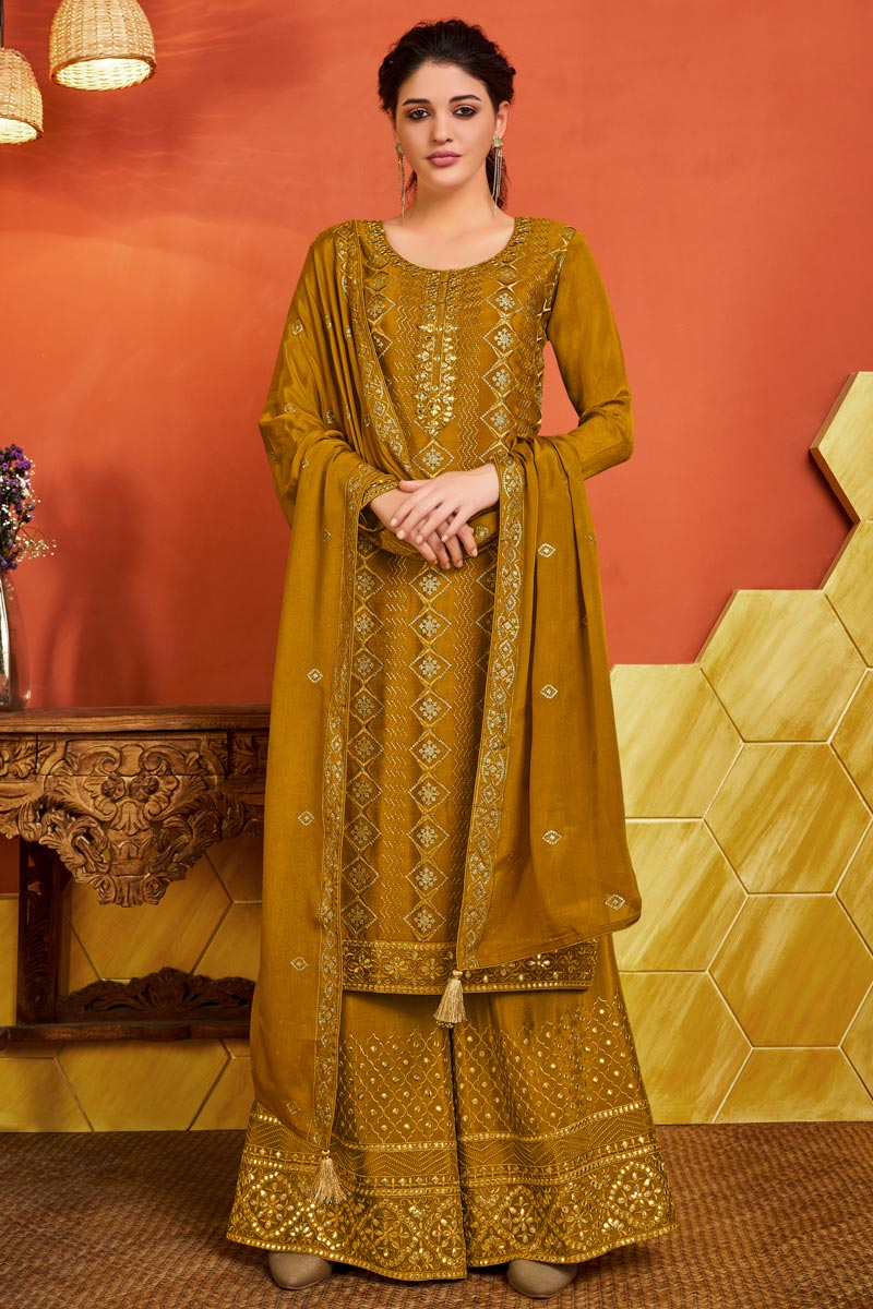 Mustard Color Chinon Fabric Party Wear Embroidered Palazzo Dress
