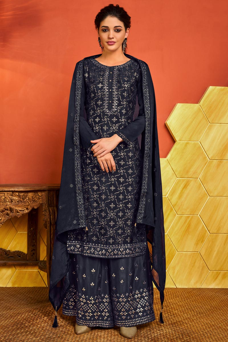 Party Wear Chinon Fabric Navy Blue Color Embroidered Palazzo Suit