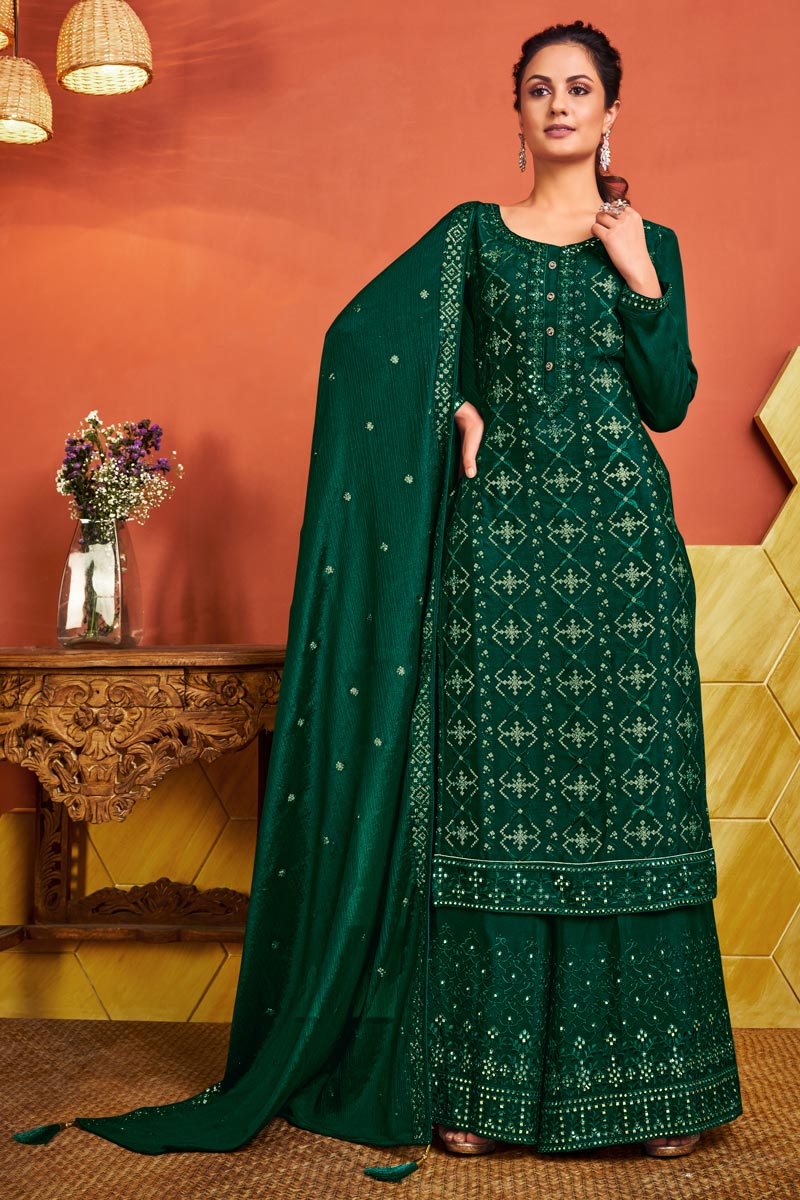 Chinon Fabric Party Wear Embroidered Green Color Palazzo Dress