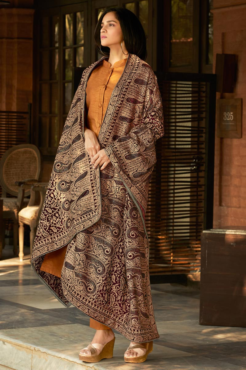 Party Wear Maroon Color Velvet Fabric Shawl Style Embroidered Designer Dupatta