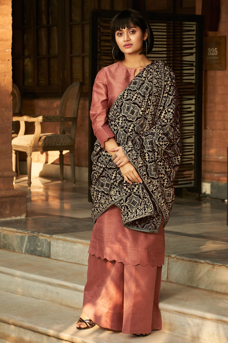 Brown Color Party Wear Shawl Style Velvet Fabric Embroidered Designer Dupatta