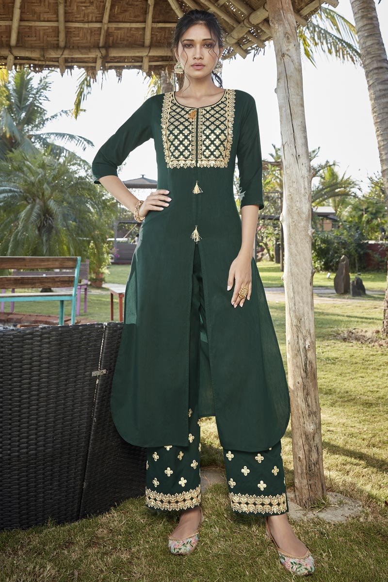 Cotton Silk Dark Green Embroidered Party Wear Kurti With Palazzo