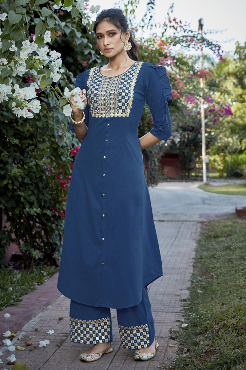 Cotton Silk Blue Embroidered Party Wear Kurti With Palazzo