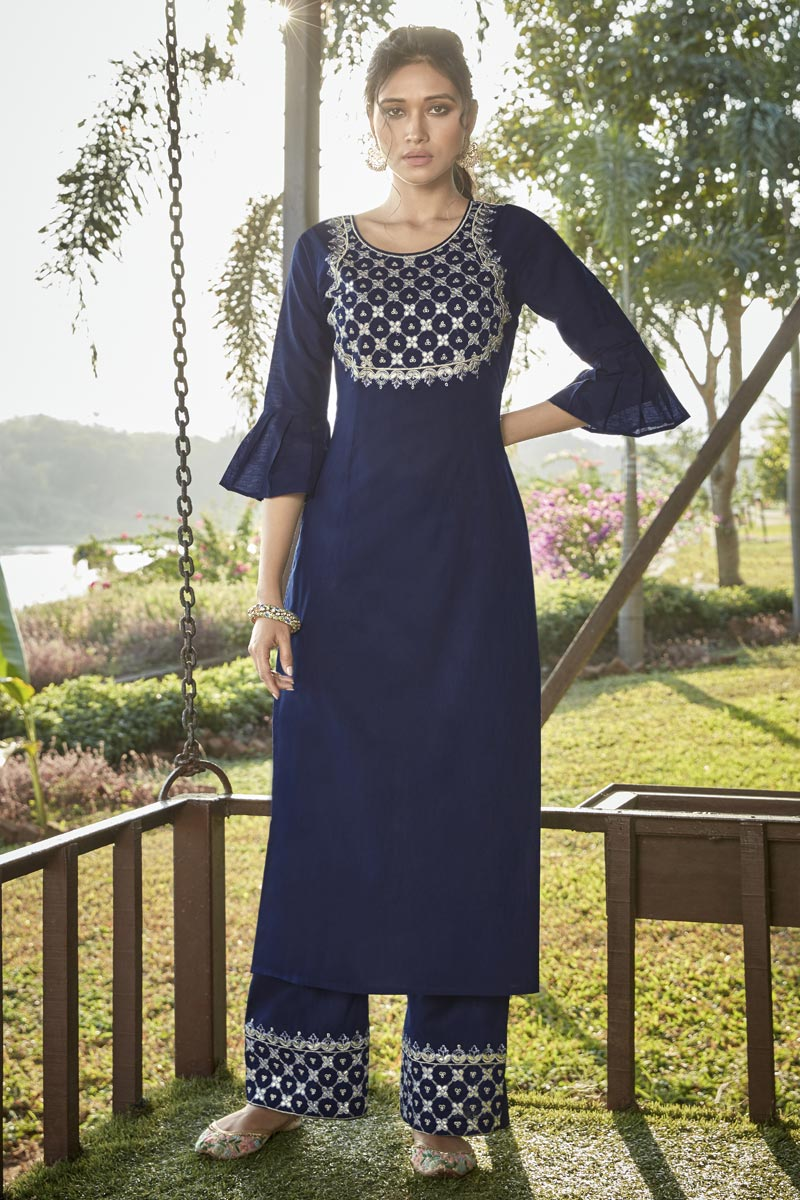 Navy Blue Party Wear Cotton Silk Embroidered Kurti With Bottom