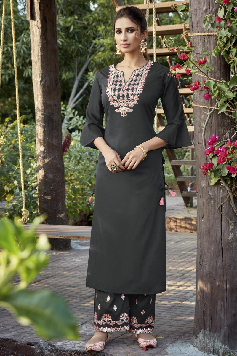 Grey Embroidered Cotton Silk Party Wear Kurti With Bottom