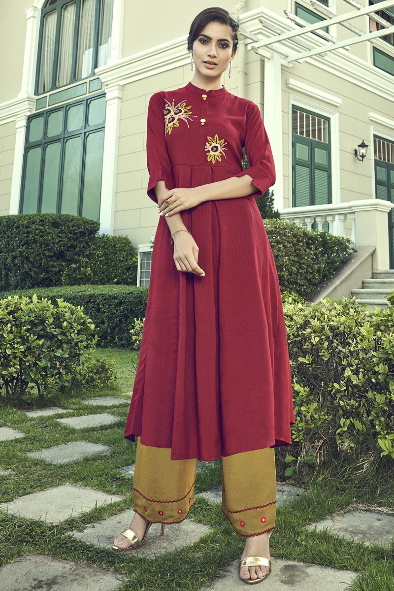 Cotton Fabric Maroon Thread Embroidered Party Wear Kurti With Palazzo