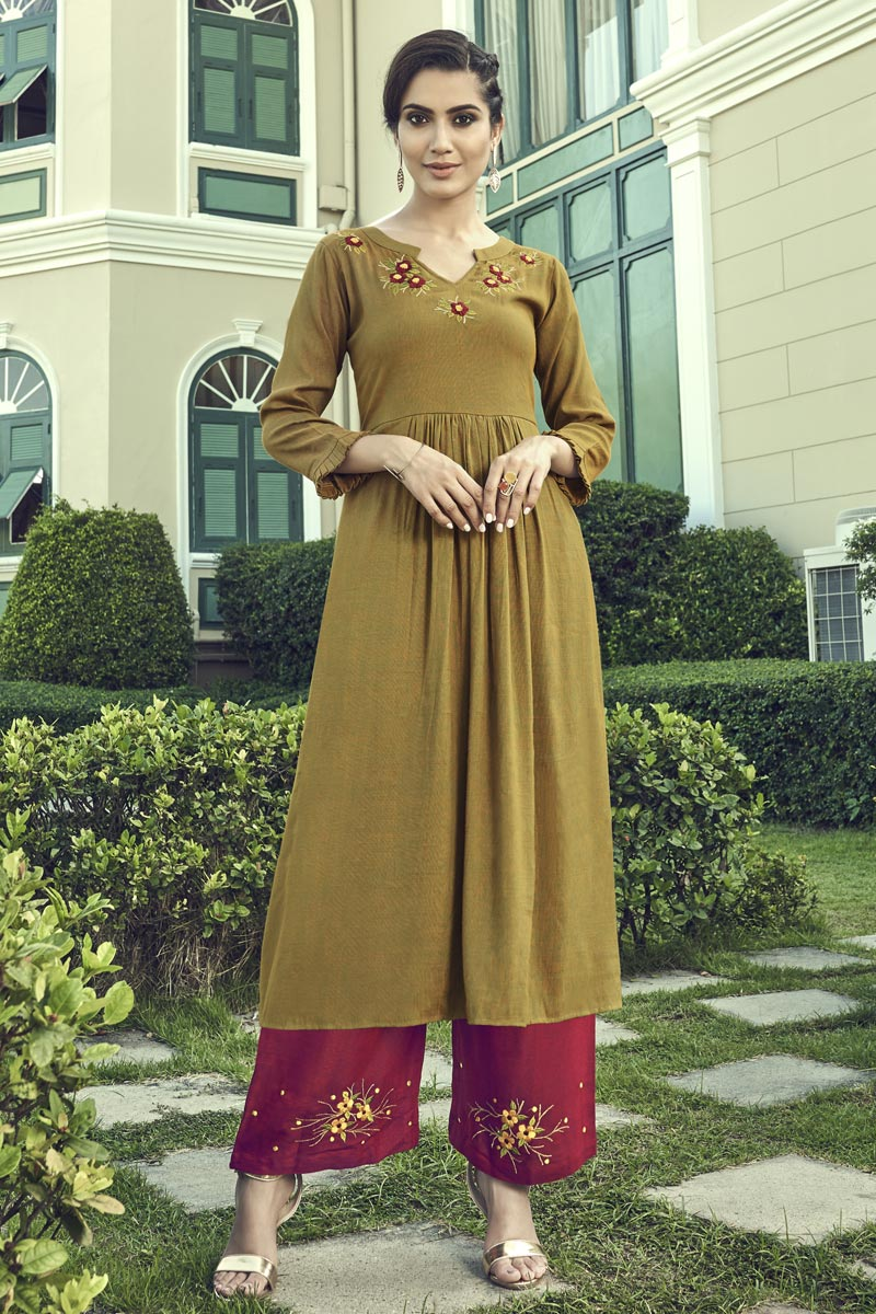 Party Wear Khaki Color Thread Embroidered Cotton Fabric Kurti With Palazzo