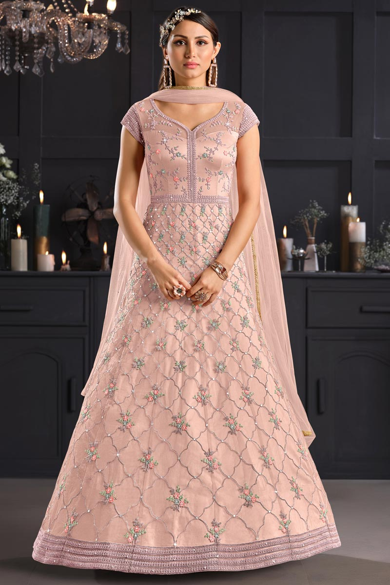 Peach Color Party Style Embroidered Net Fabric Anarkali Salwar Suit
