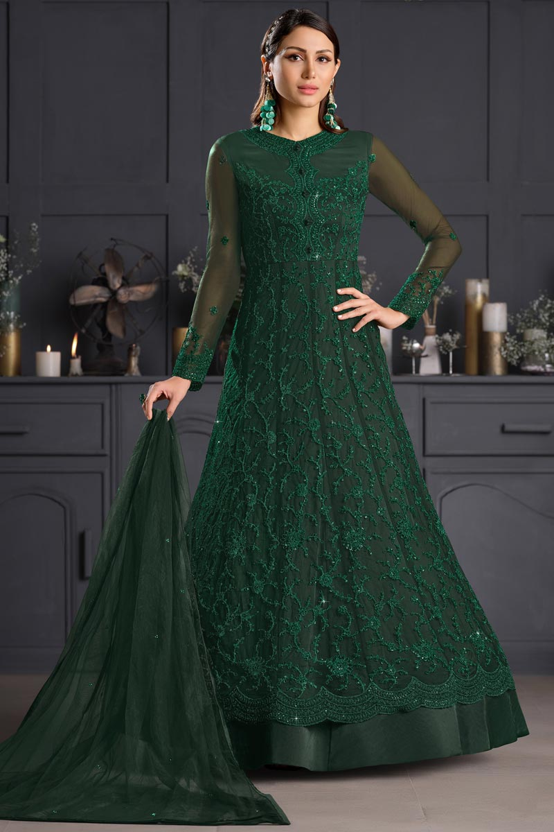 Dark Green Color Party Style Embroidered Net Fabric Anarkali Salwar Kameez