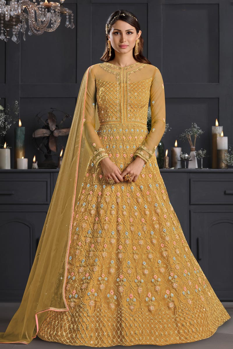 Yellow Color Net Fabric Party Style Embroidered Anarkali Salwar Kameez