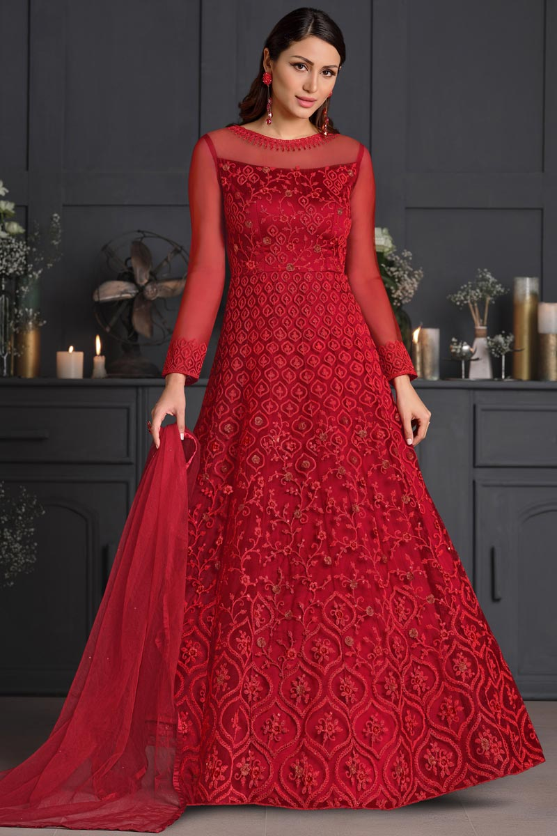 Net Fabric Party Style Embroidered Anarkali Salwar Suit In Red Color