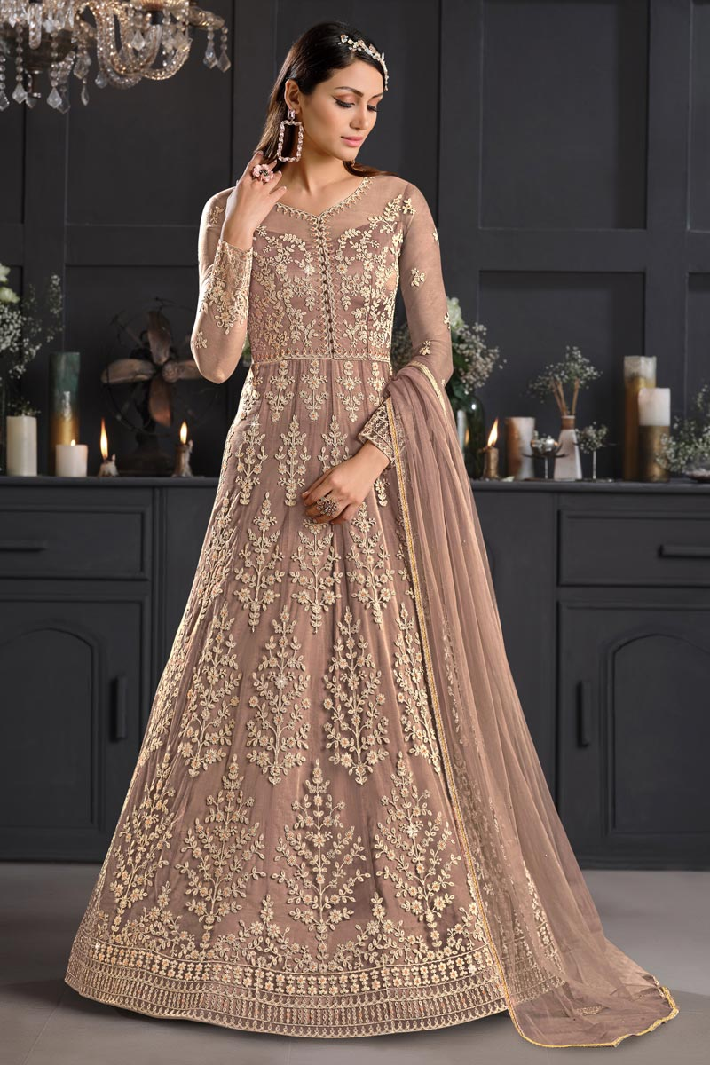 Party Style Net Fabric Chikoo Color Embroidered Anarkali Salwar Suit