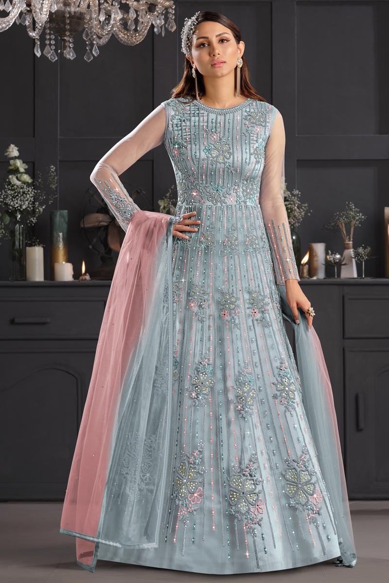 Grey Color Net Fabric Fancy Embroidered Function Wear Anarkali Salwar Kameez