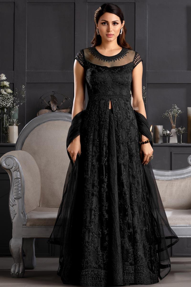 Net Fabric Embroidered Festive Wear Anarkali Salwar Kameez In Black Color