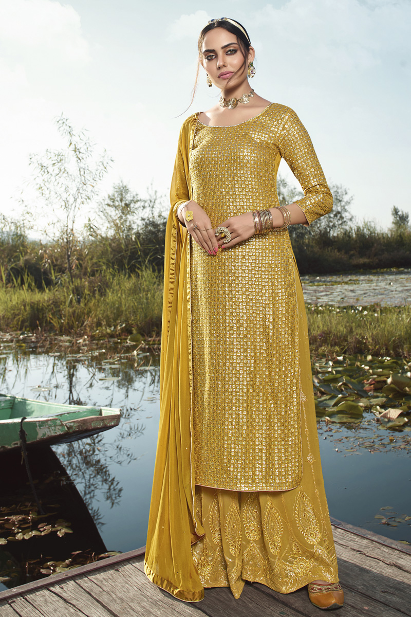 Party Style Trendy Yellow Color Embroidered Georgette Fabric Palazzo Dress