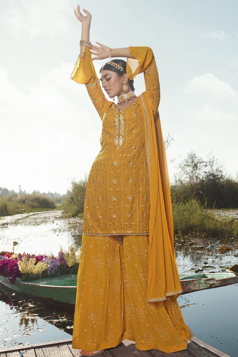 Mustard Color Georgette Fabric Party Style Trendy Embroidered Palazzo Suit