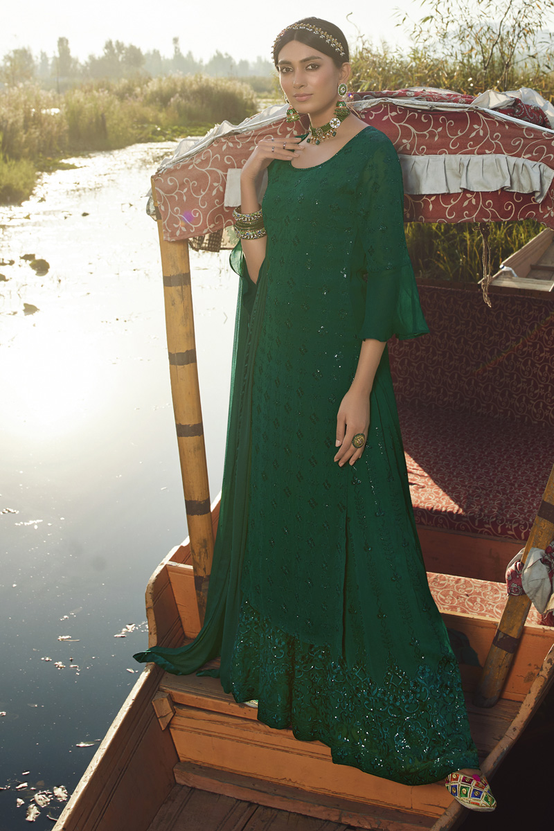 Georgette Fabric Party Style Trendy Embroidered Palazzo Dress In Dark Green Color
