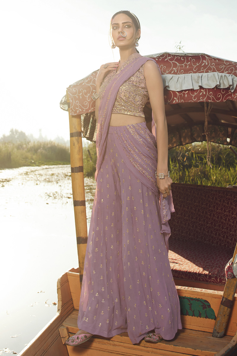 Party Style Georgette Fabric Lavender Color Trendy Embroidered Indowestern Palazzo Suit