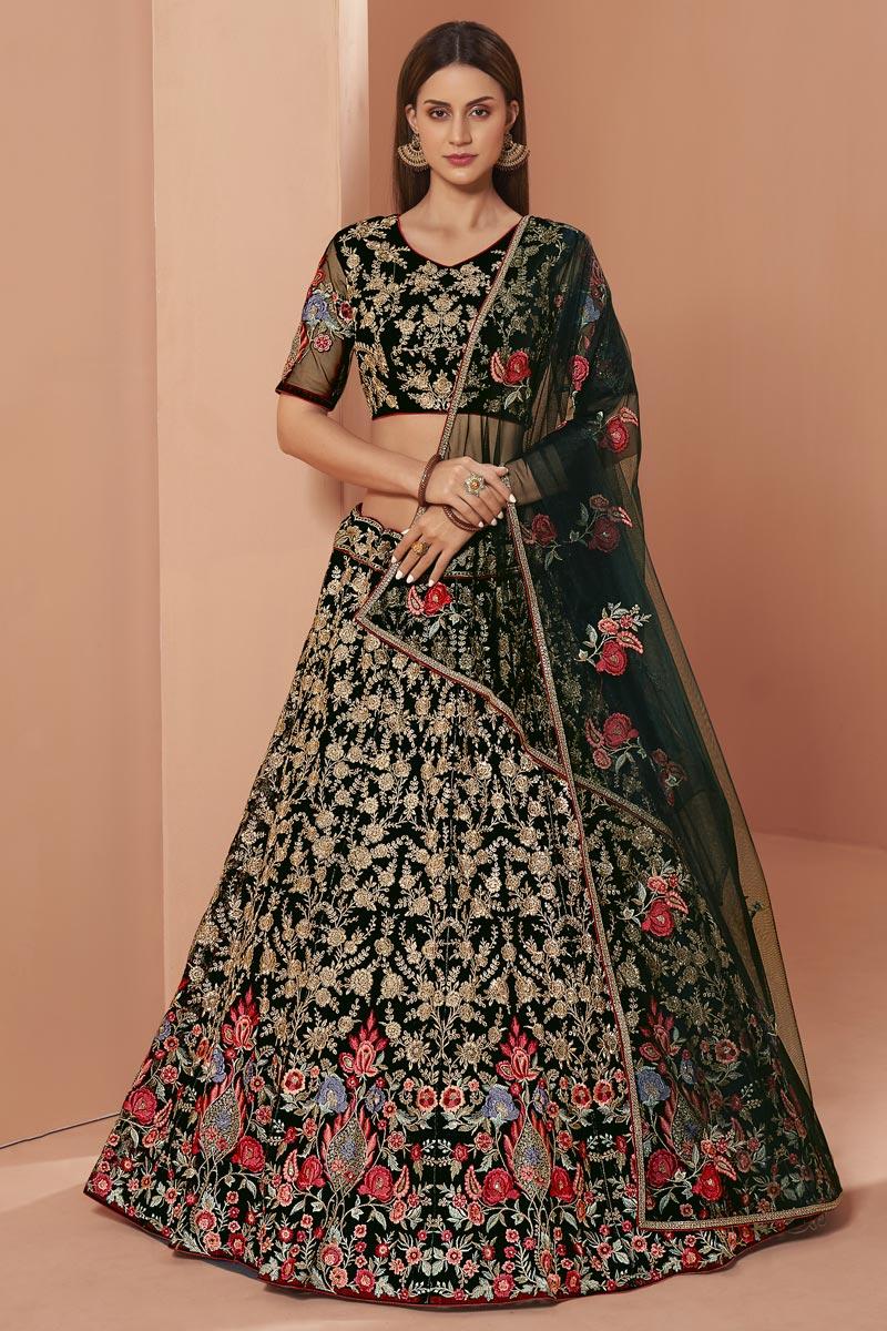 Dark Green Color Wedding Function Wear Embroidered Lehenga Choli In Net Fabric