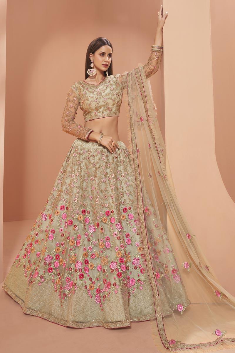 Wedding Function Wear Beige Color Net Fabric Embroidered Lehenga