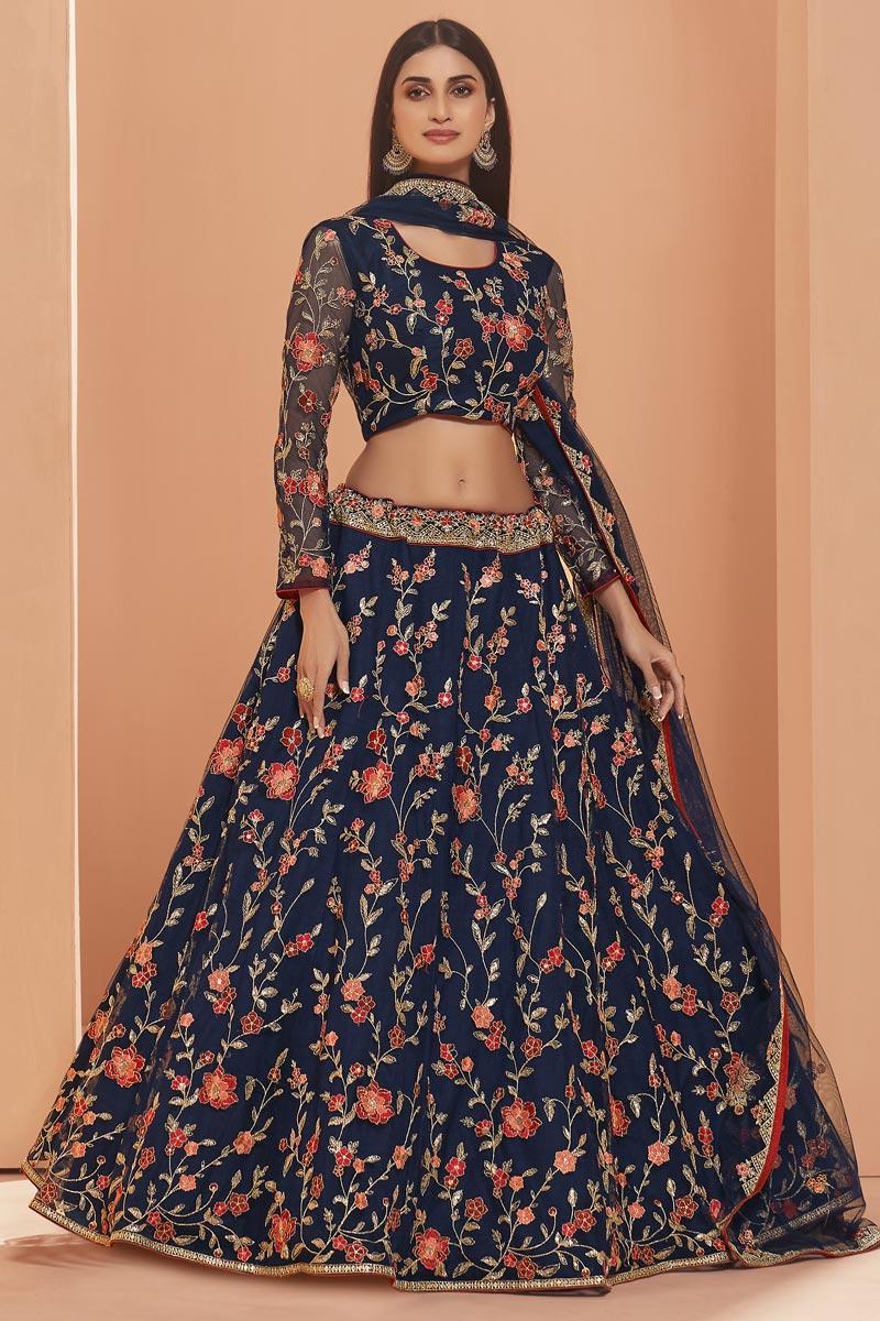 Navy Blue Color Wedding Function Wear Net Fabric Embroidered Lehenga Choli