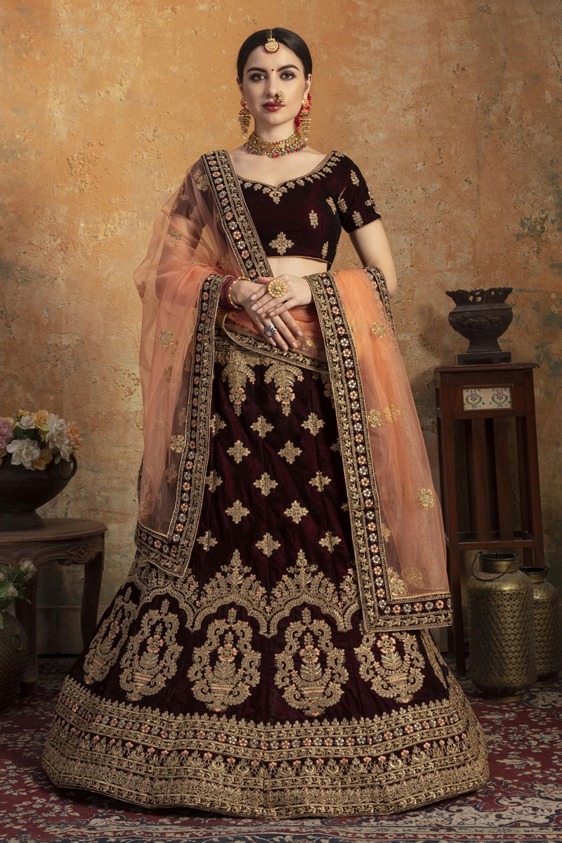 Eid Special Velvet Fabric Maroon Color Wedding Wear 3 Piece Lehenga Choli With Embroidery Work