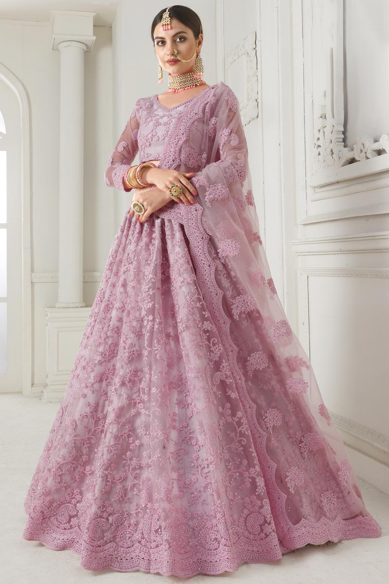 Pink Function Wear Designer Embroidered Lehenga In Net Fabric