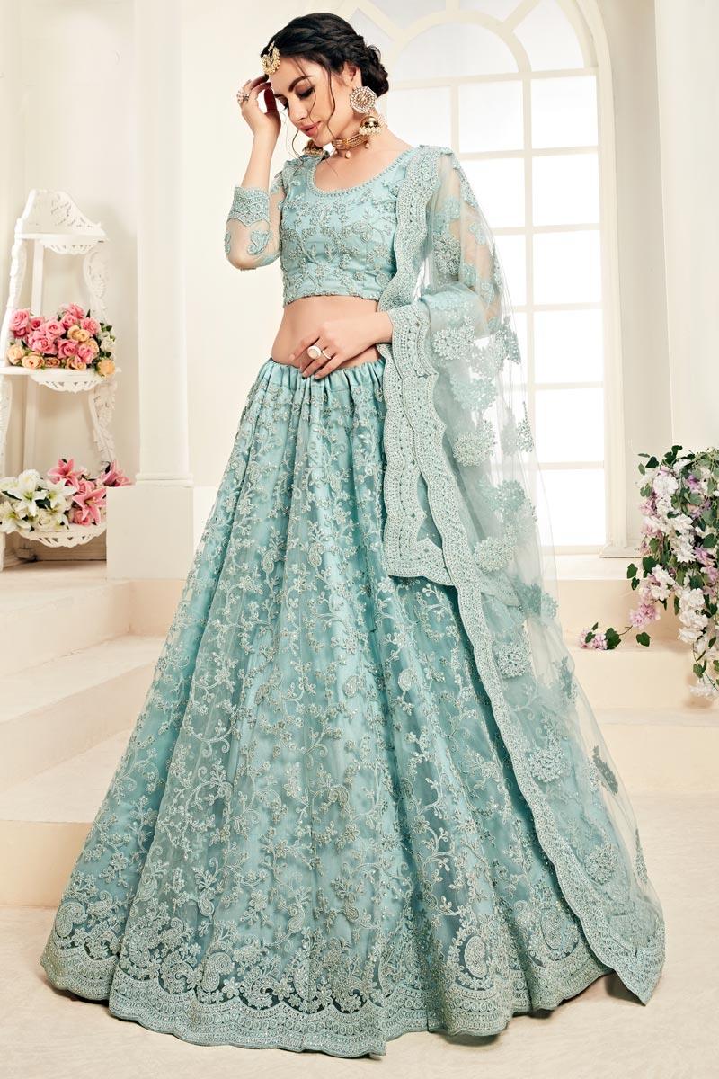 Designer Embroidered Cyan Function Wear Net Fabric Lehenga Choli