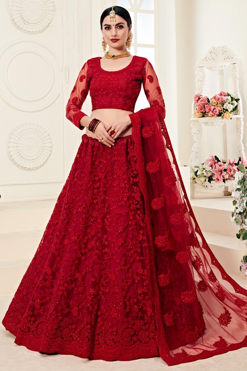 Function Wear Net Fabric Embroidered Red Designer Lehenga Choli