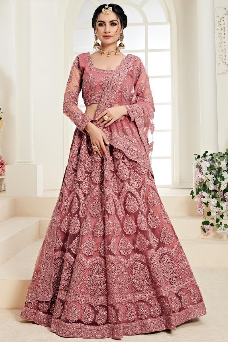 Function Wear Pink Net Fabric Embroidered Designer Lehenga Choli