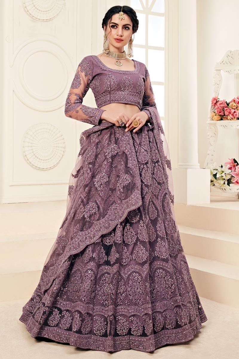 Net Fabric Function Wear Designer Embroidered Lehenga In Purple